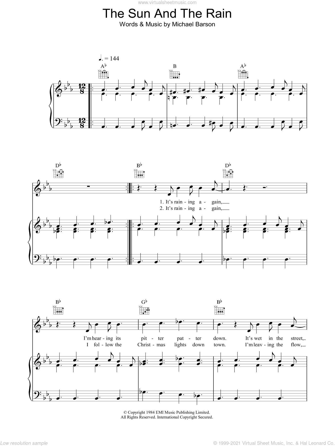 The Sun And The Rain sheet music for voice, piano or guitar by Michael Barson and Madness. Score Image Preview.