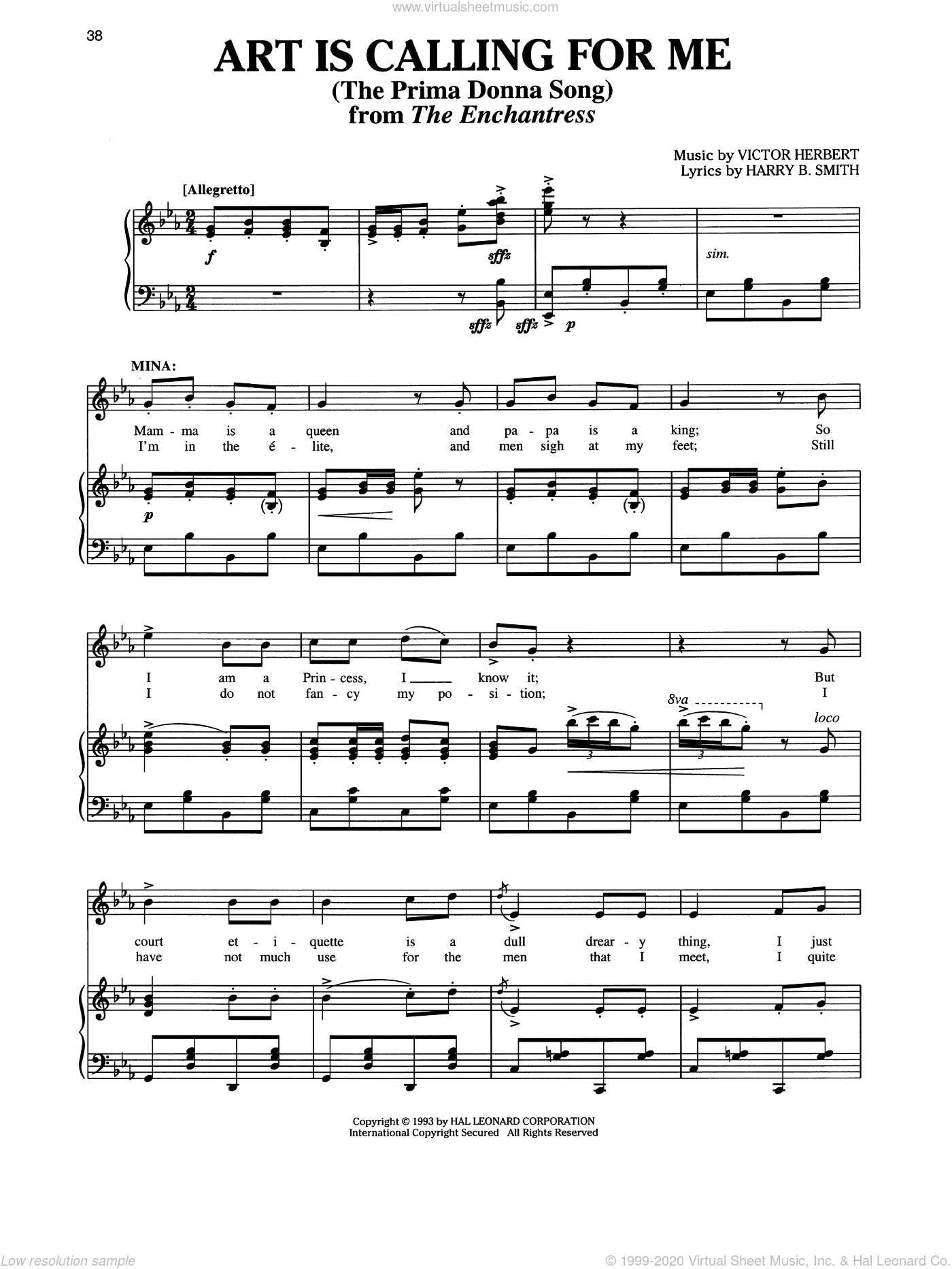 Art Is Calling For Me sheet music for voice and piano by Victor Herbert, Richard Walters and Harry B. Smith, intermediate skill level