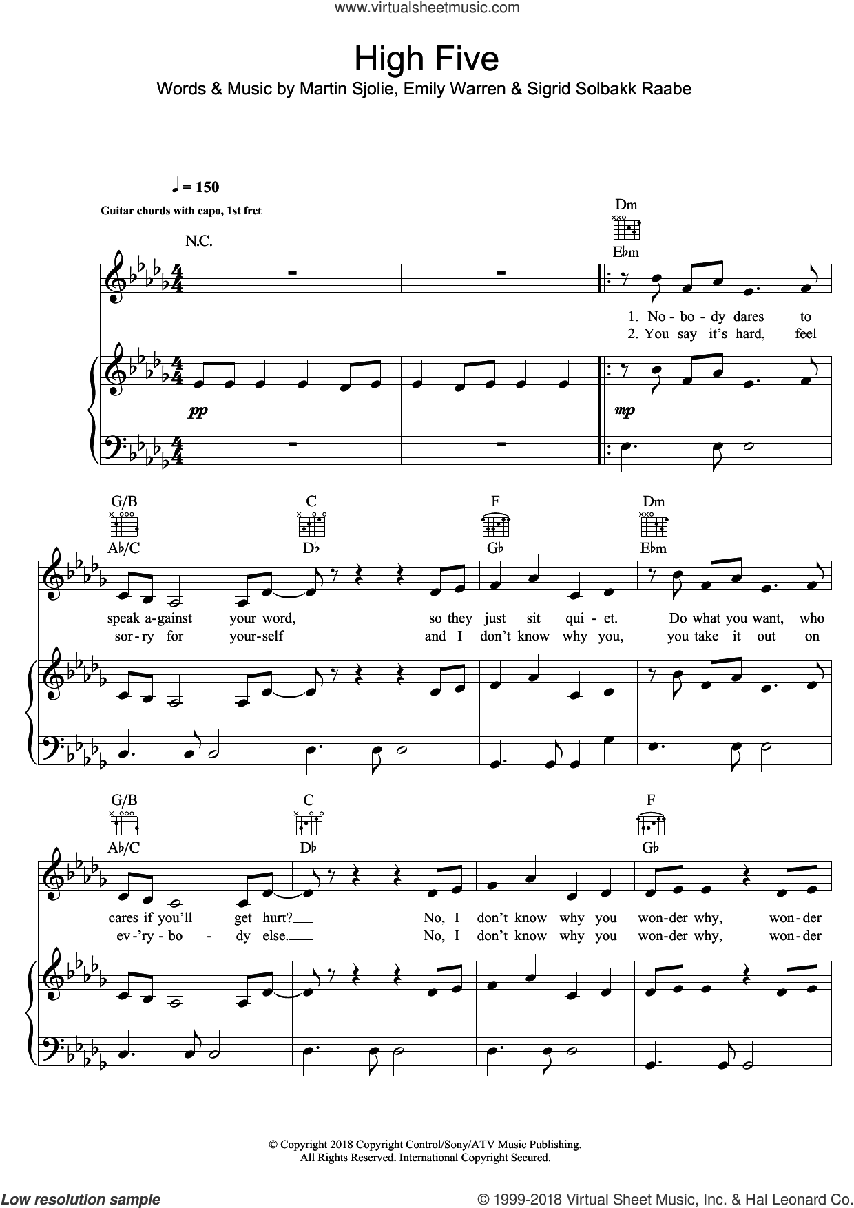High Five sheet music for voice, piano or guitar by Sigrid, Emily Warren, Martin Sjolie and Sigrid Solbakk Raabe, intermediate skill level