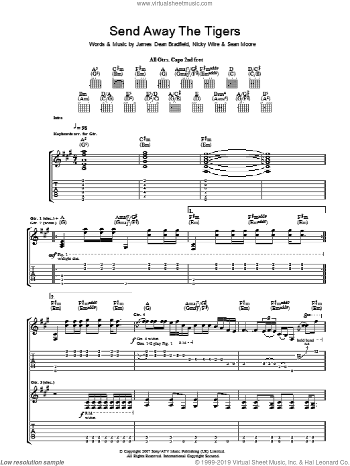 Send Away The Tigers sheet music for guitar (tablature) by Sean Moore, Manic Street Preachers and James Dean Bradfield. Score Image Preview.