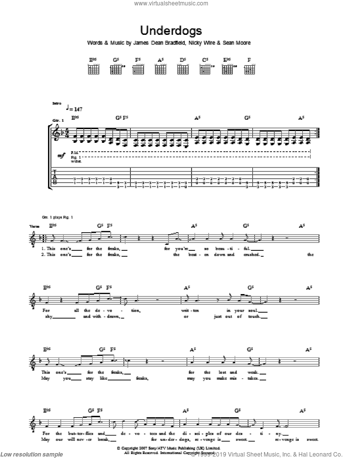Underdogs sheet music for guitar (tablature) by Manic Street Preachers and James Dean Bradfield. Score Image Preview.
