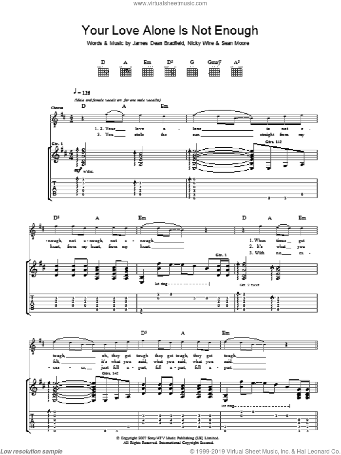 Your Love Alone Is Not Enough sheet music for guitar (tablature) by Sean Moore, Manic Street Preachers and James Dean Bradfield. Score Image Preview.
