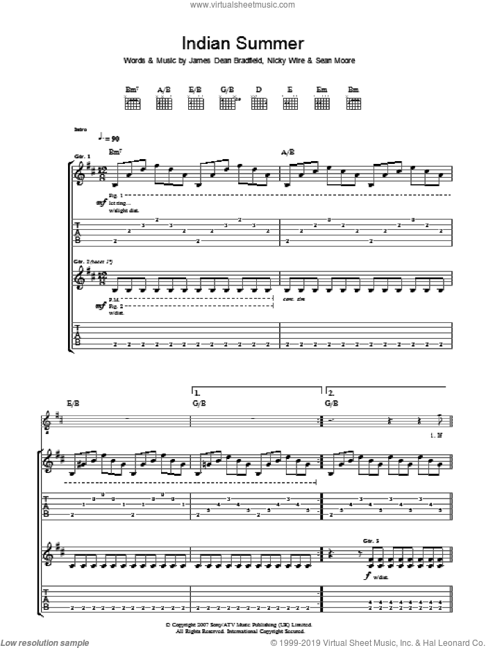 Indian Summer sheet music for guitar (tablature) by Sean Moore, Manic Street Preachers and James Dean Bradfield. Score Image Preview.