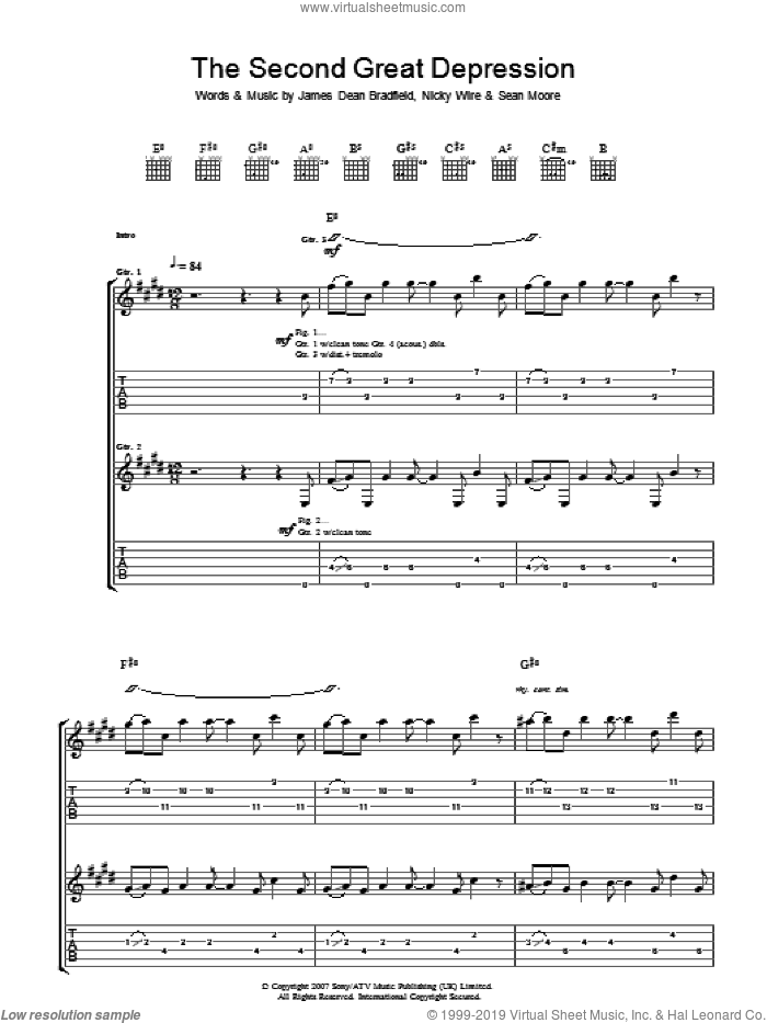 The Second Great Depression sheet music for guitar (tablature) by Sean Moore, Manic Street Preachers and James Dean Bradfield. Score Image Preview.