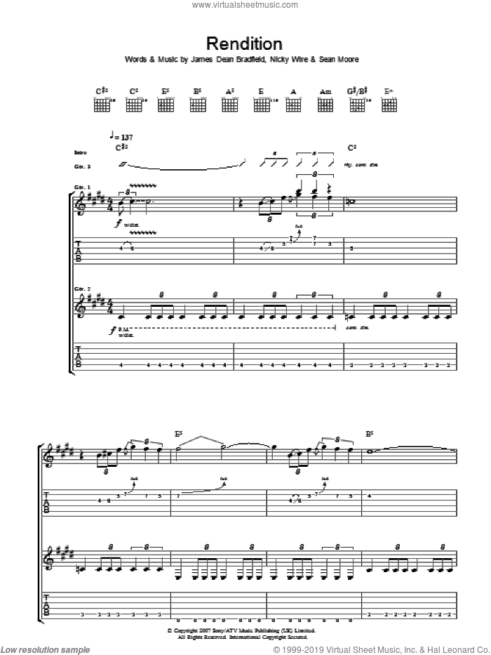 Rendition sheet music for guitar (tablature) by Manic Street Preachers, James Dean Bradfield, Nicky Wire and Sean Moore, intermediate skill level