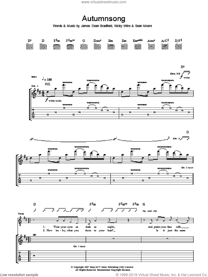 Autumnsong sheet music for guitar (tablature) by Sean Moore, Manic Street Preachers and James Dean Bradfield. Score Image Preview.