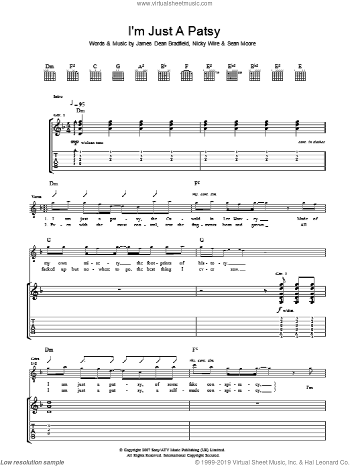 I'm Just A Patsy sheet music for guitar (tablature) by Manic Street Preachers and James Dean Bradfield. Score Image Preview.