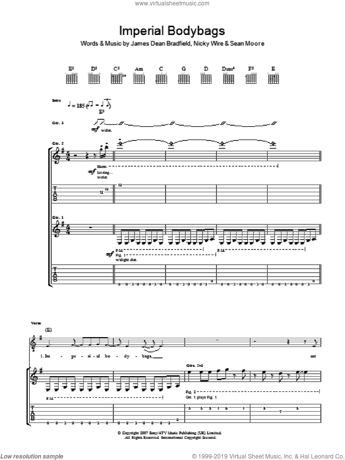 Imperial Bodybags sheet music for guitar (tablature) by Sean Moore, Manic Street Preachers and James Dean Bradfield. Score Image Preview.