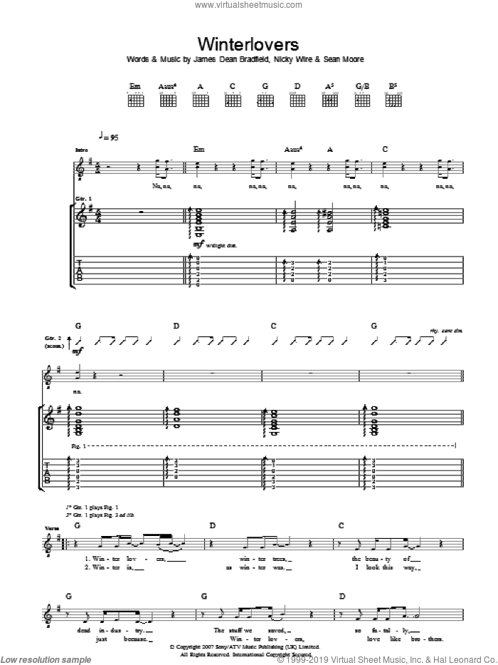 Winterlovers sheet music for guitar (tablature) by Sean Moore