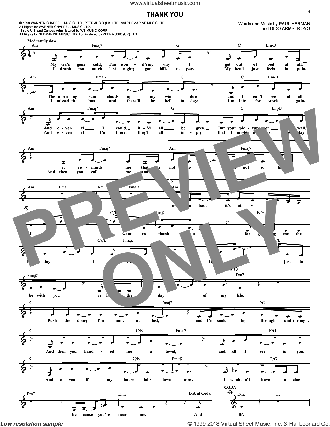 Thank You sheet music for voice and other instruments (fake book) by Dido Armstrong and Paul Herman, intermediate skill level
