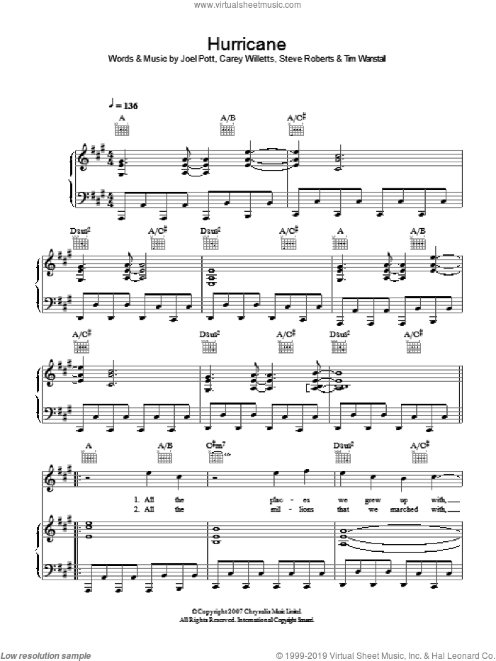 Hurricane sheet music for voice, piano or guitar by Carey Willetts