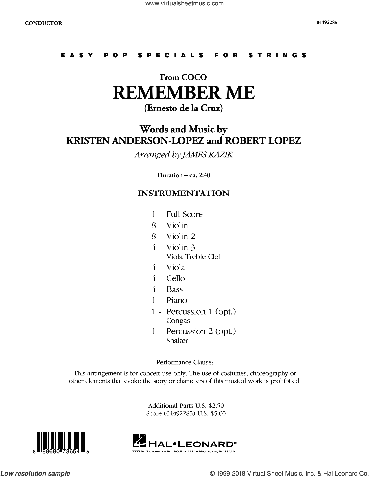 Remember Me (from Coco) (arr. James Kazik) (COMPLETE) sheet music for orchestra by Robert Lopez, James Kazik, Kristen Anderson-Lopez and Kristen Anderson-Lopez & Robert Lopez, intermediate skill level