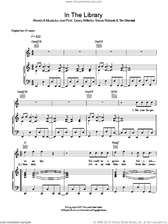 In The Library sheet music for voice, piano or guitar by Carey Willetts