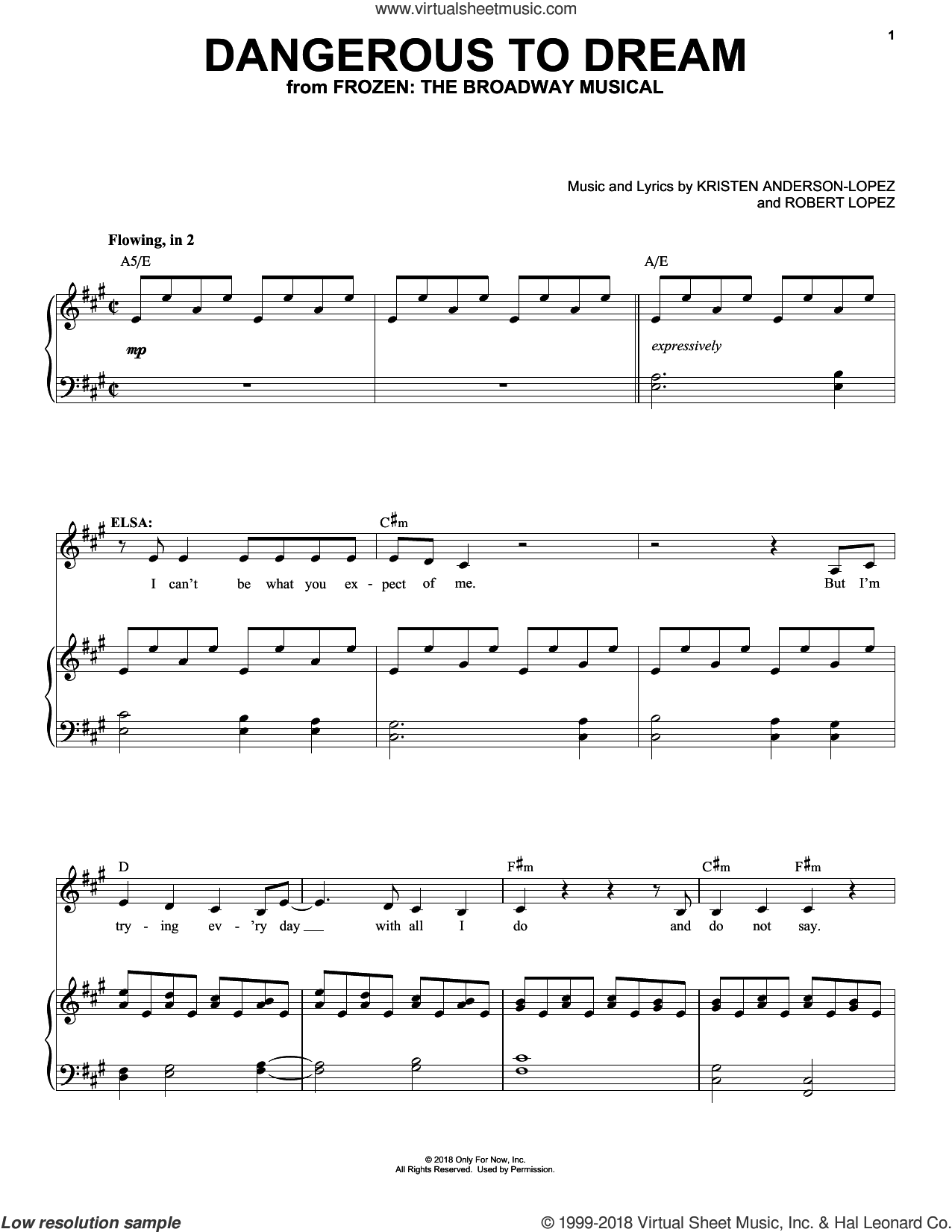 Dangerous To Dream (from Frozen: The Broadway Musical) sheet music for voice and piano by Robert Lopez, Kristen Anderson-Lopez and Kristen Anderson-Lopez & Robert Lopez, intermediate skill level