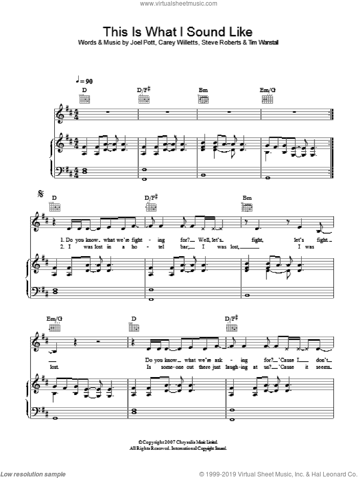 This Is What I Sound Like sheet music for voice, piano or guitar by Carey Willetts, Athlete, Joel Pott and Tim Wanstall