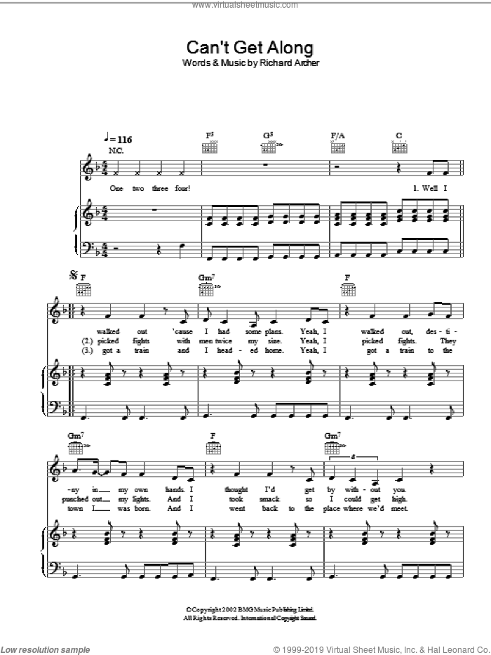 Can't Get Along (Without You) sheet music for voice, piano or guitar by Richard Archer. Score Image Preview.