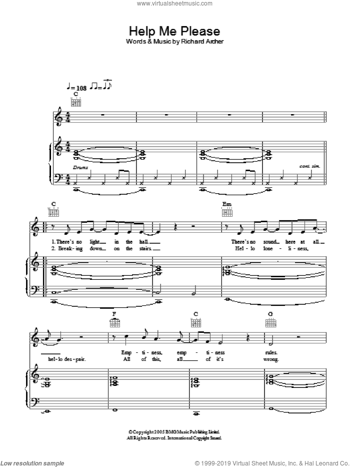 Help Me Please sheet music for voice, piano or guitar by Richard Archer. Score Image Preview.