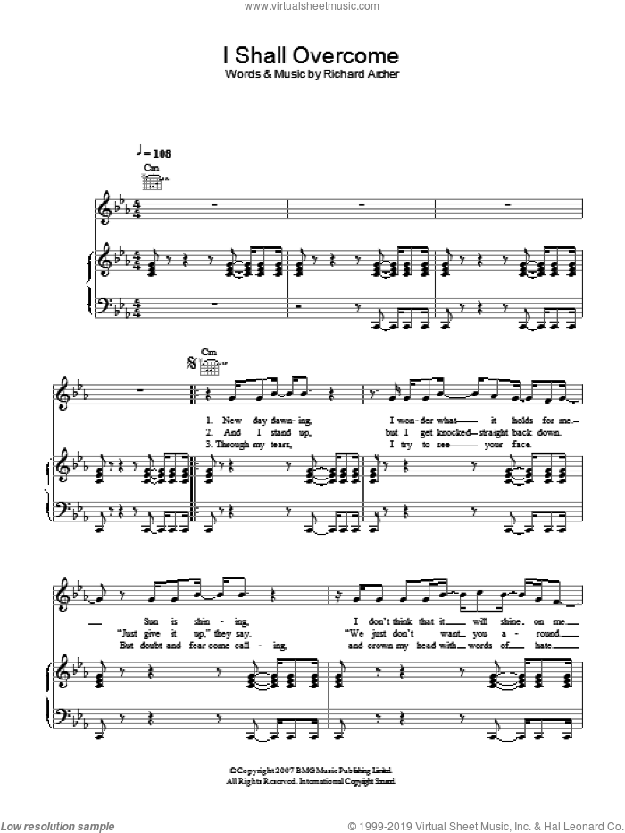 I Shall Overcome sheet music for voice, piano or guitar by Richard Archer. Score Image Preview.