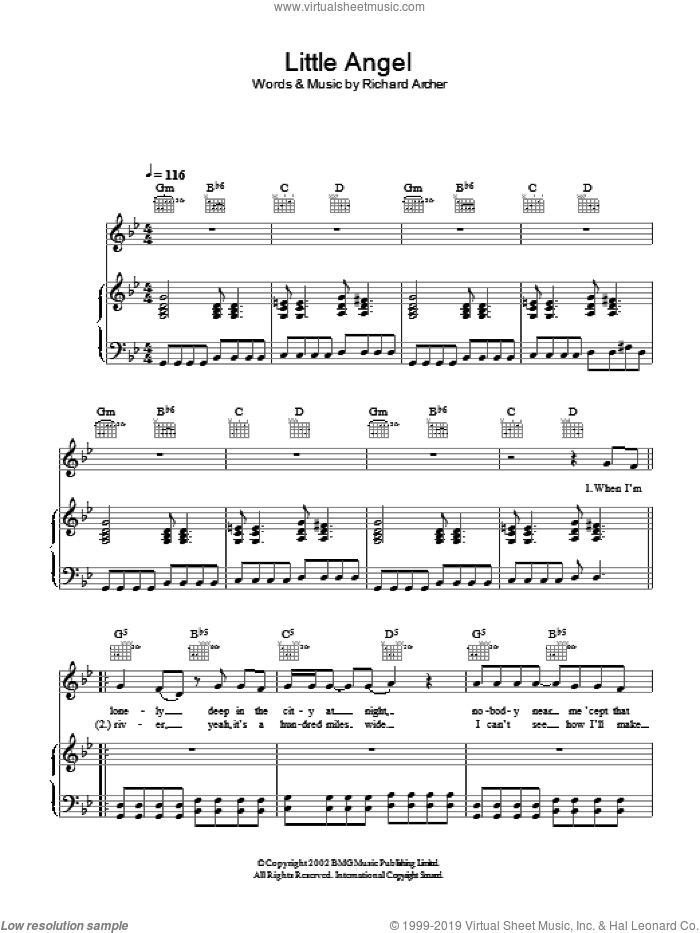 Little Angel sheet music for voice, piano or guitar by Richard Archer
