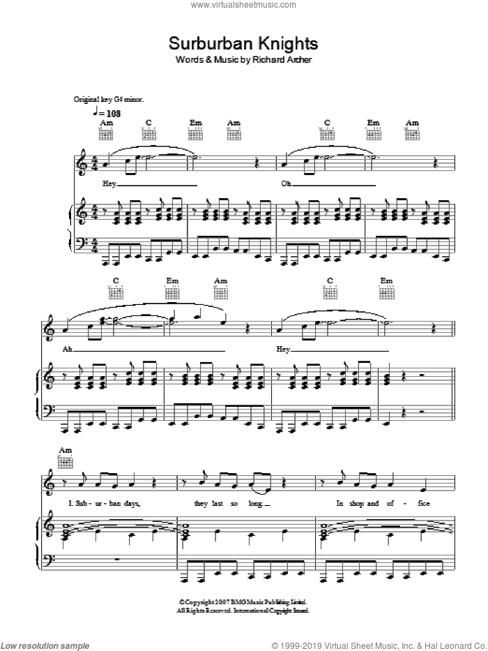 Suburban Knights sheet music for voice, piano or guitar by Hard-Fi, intermediate voice, piano or guitar. Score Image Preview.