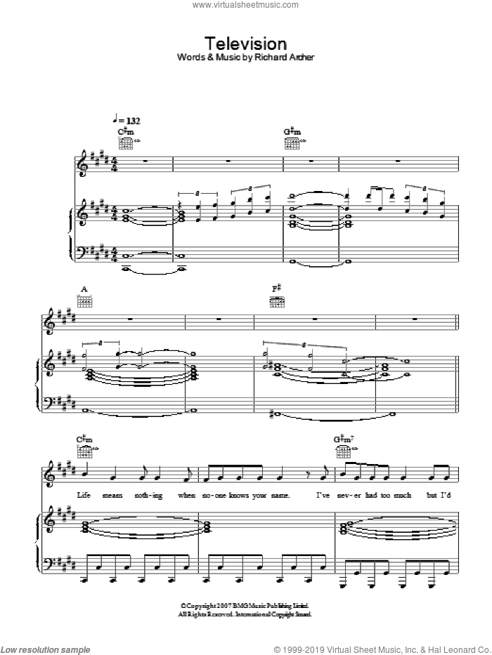 Television sheet music for voice, piano or guitar by Hard-Fi, intermediate. Score Image Preview.