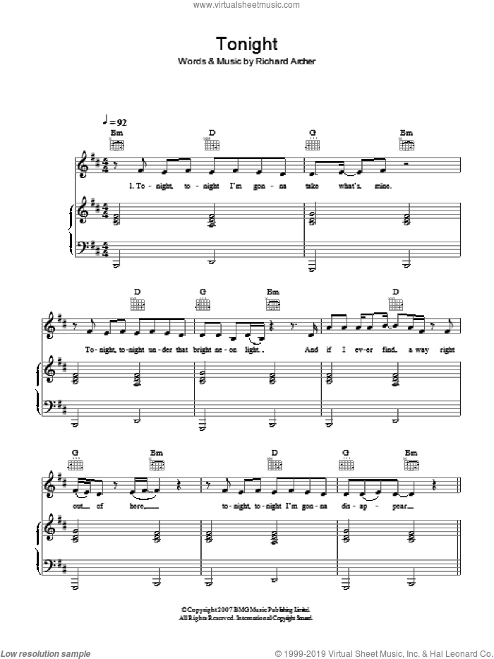 Tonight sheet music for voice, piano or guitar by Hard-Fi, intermediate voice, piano or guitar. Score Image Preview.
