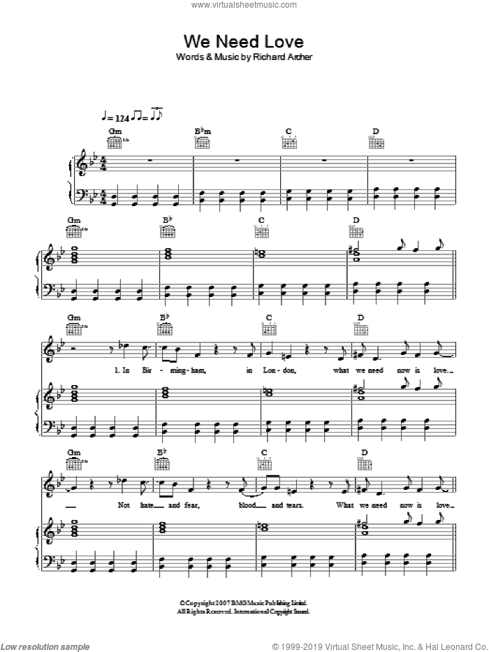 We Need Love sheet music for voice, piano or guitar by Richard Archer. Score Image Preview.