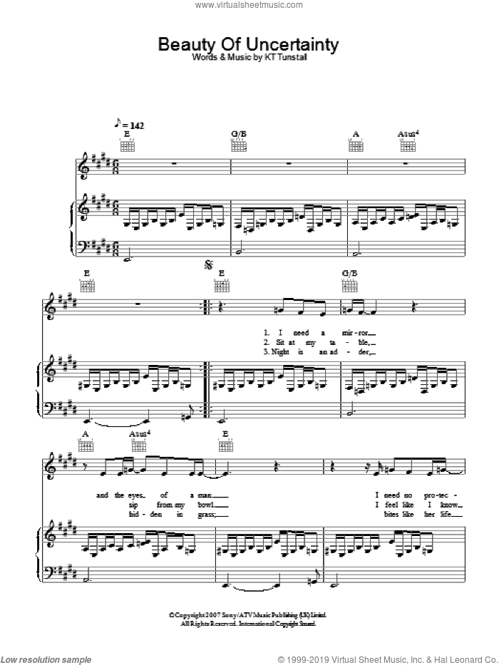Beauty Of Uncertainty sheet music for voice, piano or guitar by KT Tunstall, intermediate skill level