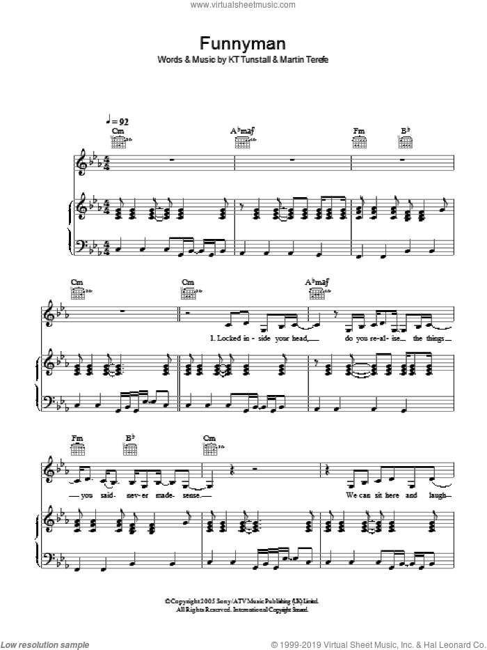 Funnyman sheet music for voice, piano or guitar by KT Tunstall