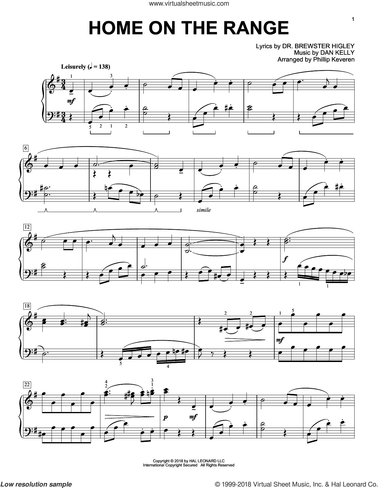 Home On The Range [Classical version] (arr. Phillip Keveren) sheet music for piano solo by Dan Kelly, Phillip Keveren and Dr. Brewster Higley, intermediate skill level