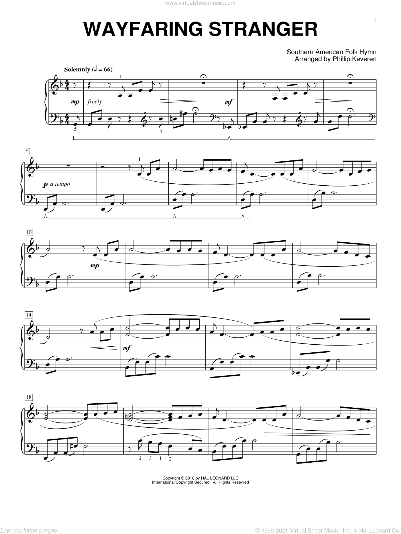 Wayfaring Stranger [Classical version] (arr. Phillip Keveren) sheet music for piano solo by Phillip Keveren and Miscellaneous, intermediate skill level