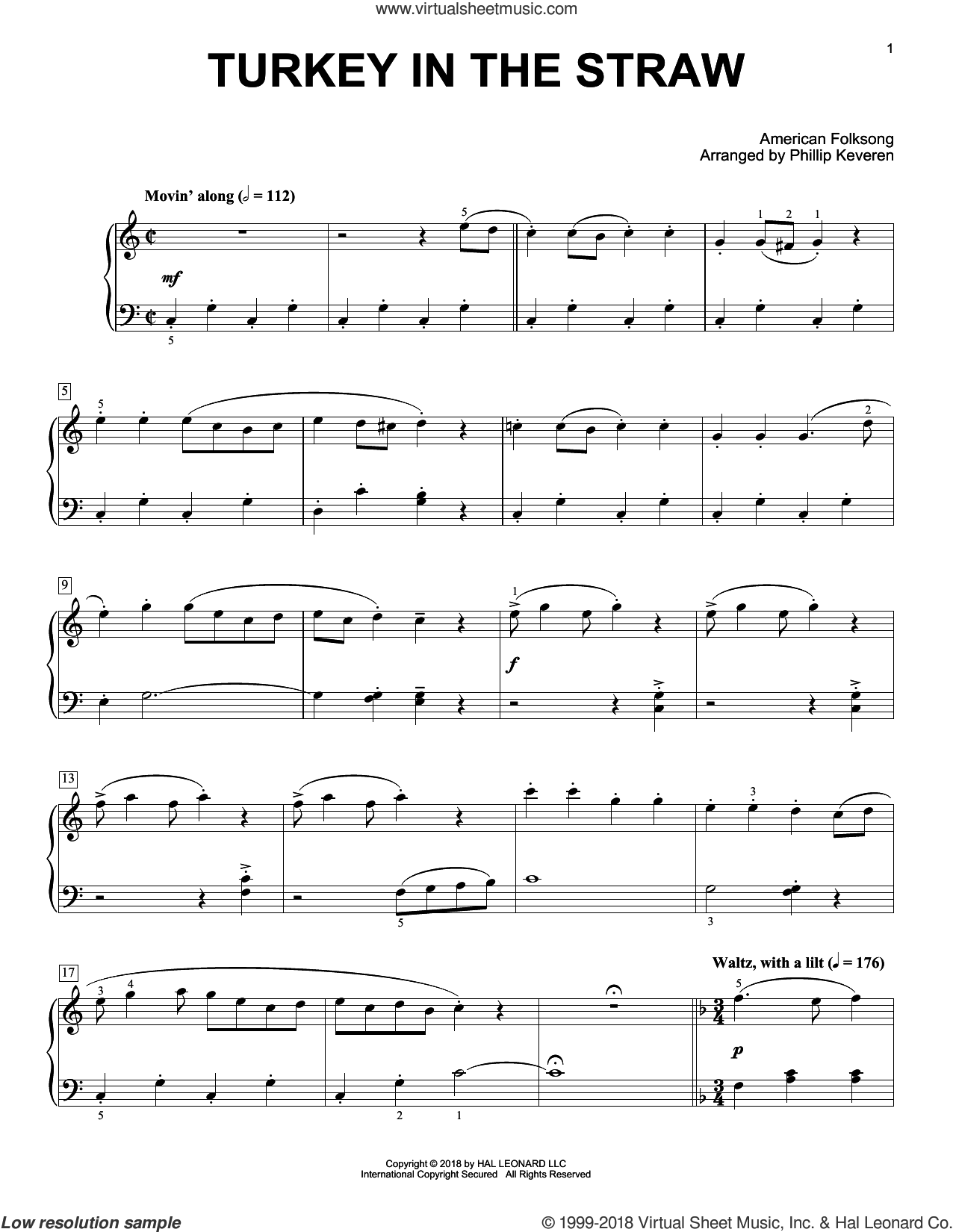 Turkey In The Straw [Classical version] (arr. Phillip Keveren) sheet music for piano solo by American Folksong and Phillip Keveren, intermediate skill level