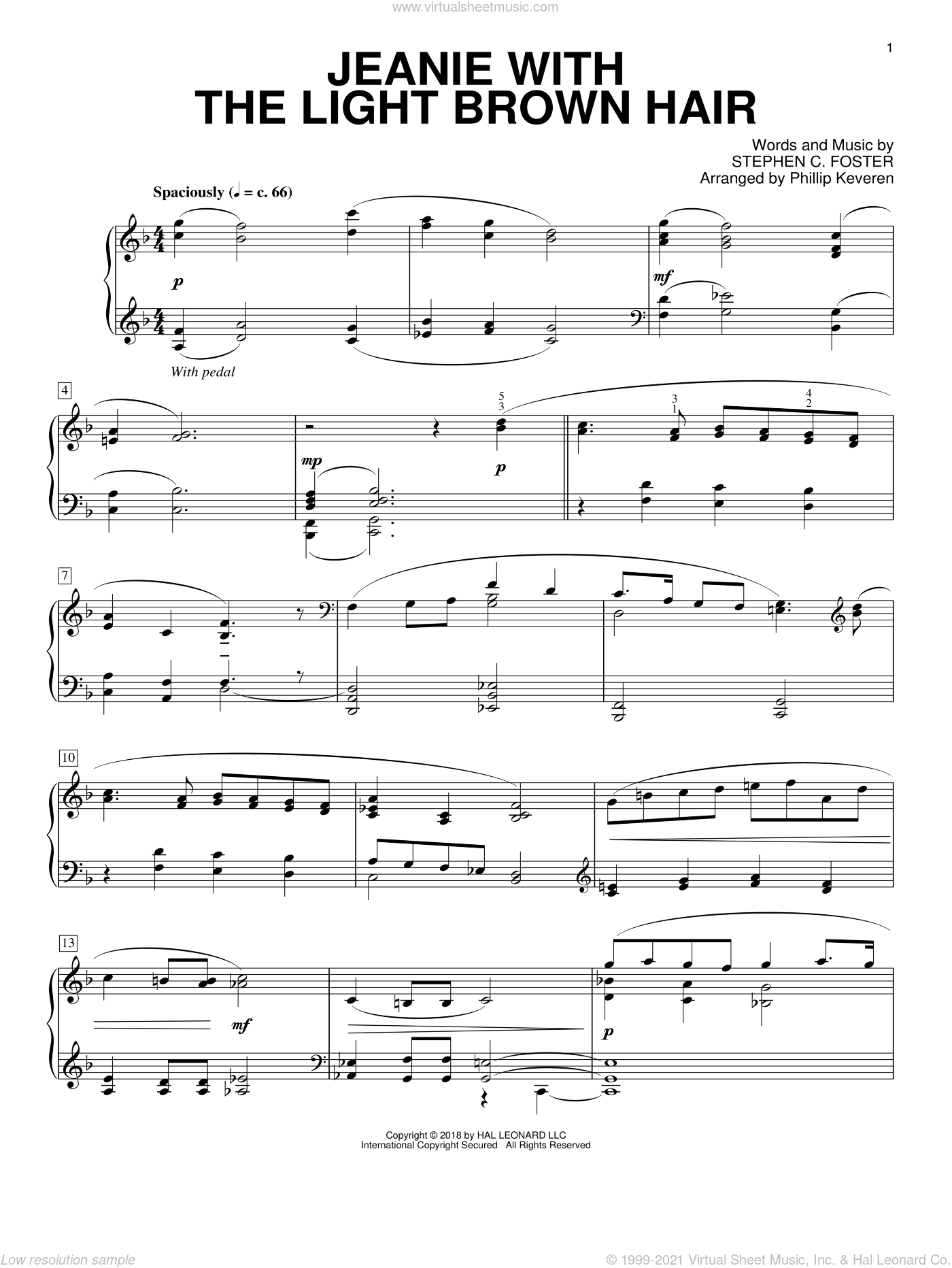 Jeanie With The Light Brown Hair [Classical version] (arr. Phillip Keveren) sheet music for piano solo by Stephen Foster and Phillip Keveren, intermediate skill level