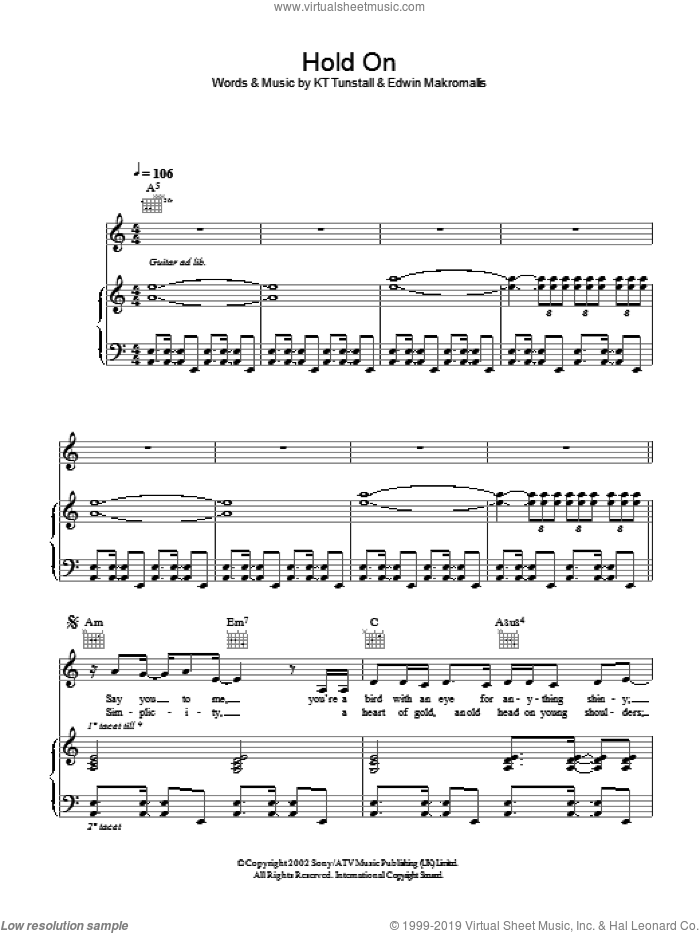 Hold On sheet music for voice, piano or guitar by Edwin Makromallis and KT Tunstall. Score Image Preview.