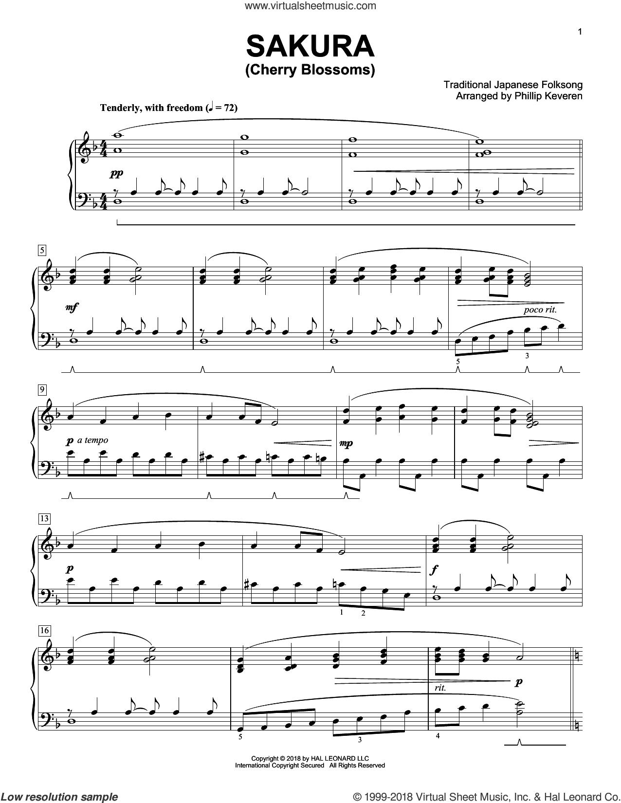 Sakura (Cherry Blossoms) [Classical version] (arr. Phillip Keveren) sheet music for piano solo by Traditional Japanese Folk Song, Phillip Keveren and Trad. Japanese Folk Song, intermediate skill level