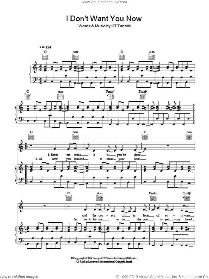 I Don't Want You Now sheet music for voice, piano or guitar by KT Tunstall, intermediate. Score Image Preview.