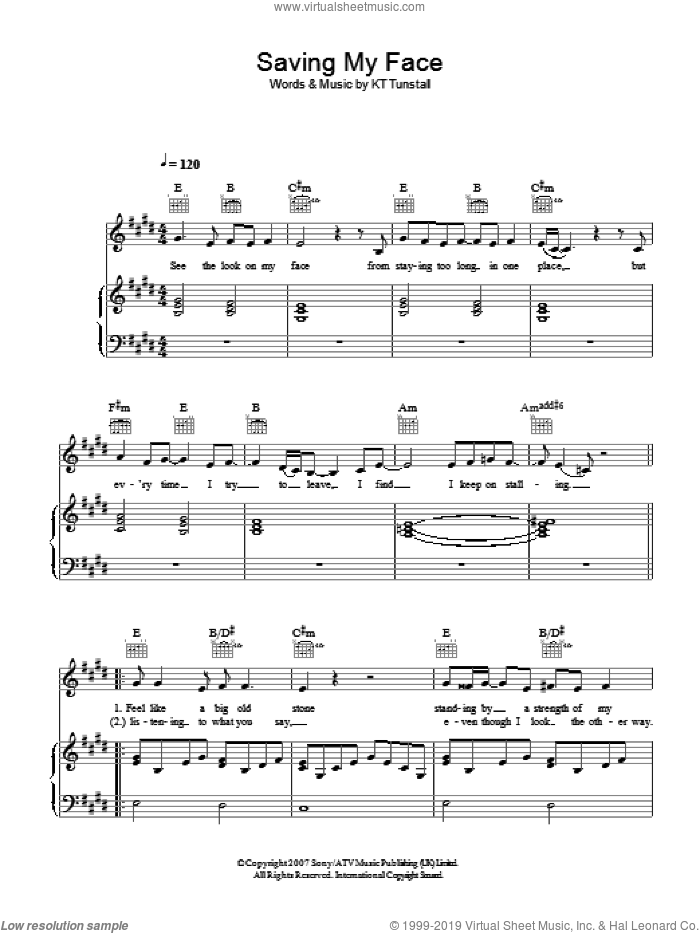 Saving My Face sheet music for voice, piano or guitar by KT Tunstall, intermediate skill level
