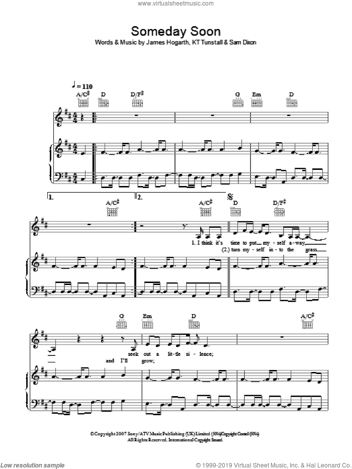 Someday Soon sheet music for voice, piano or guitar by James Hogarth and KT Tunstall. Score Image Preview.