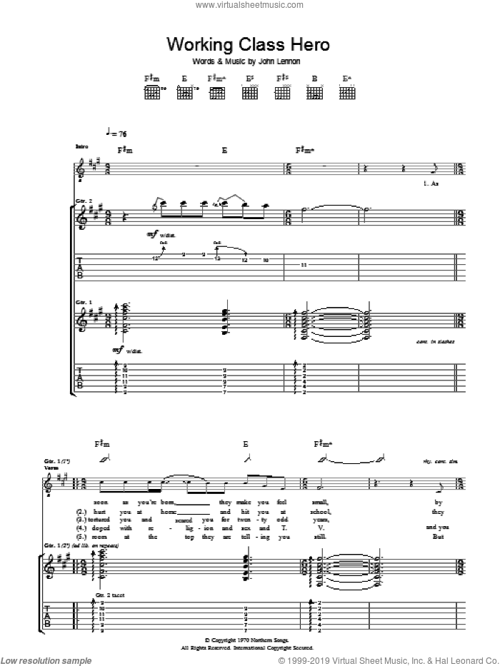 Working Class Hero sheet music for guitar (tablature) by Manic Street Preachers and John Lennon. Score Image Preview.