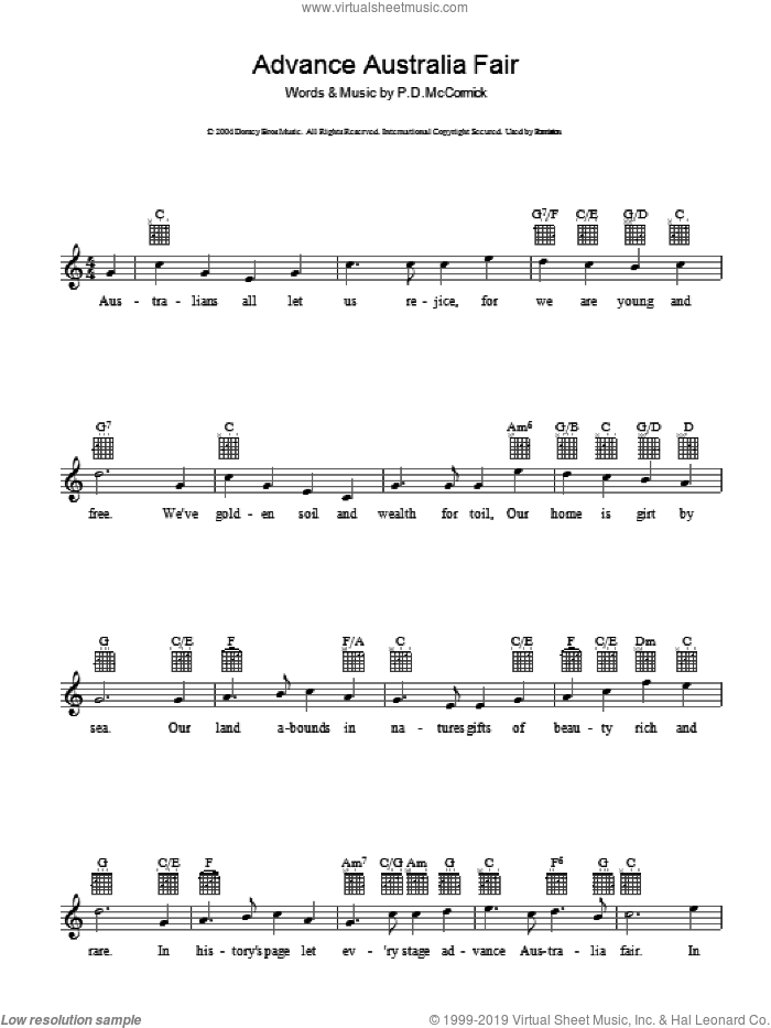 Advance Australia Fair sheet music for voice and other instruments (fake book) by Peter Dodds McCormick and Miscellaneous, intermediate skill level