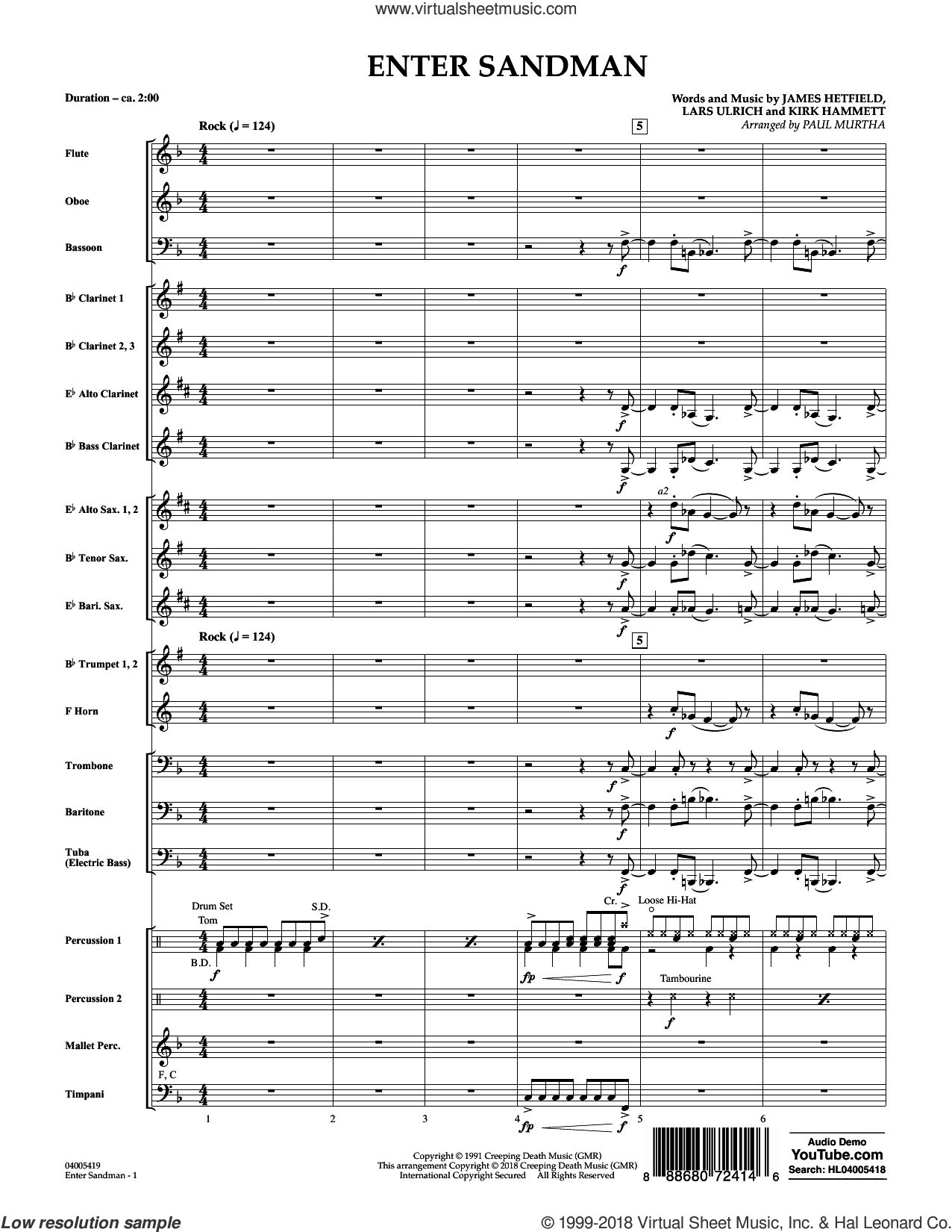 Enter Sandman (COMPLETE) sheet music for concert band by Paul Murtha, James Hetfield, Kirk Hammett, Lars Ulrich and Metallica, intermediate skill level