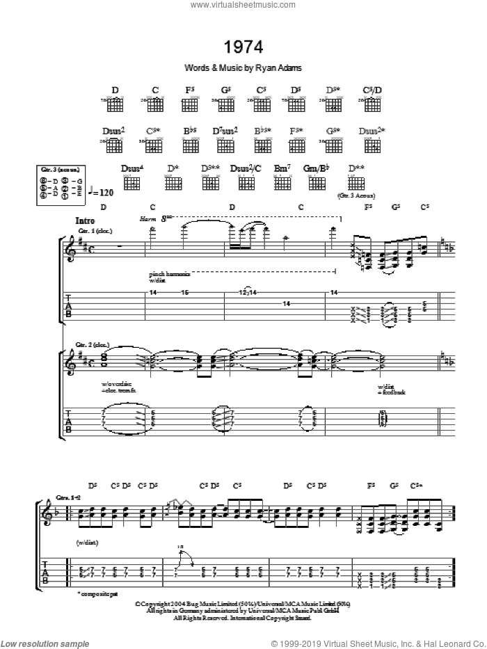 1974 sheet music for guitar (tablature) by Ryan Adams and Alanis Morrisette. Score Image Preview.