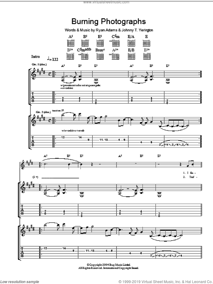 Burning Photographs sheet music for guitar (tablature) by Johnny T. Yerington and Ryan Adams. Score Image Preview.