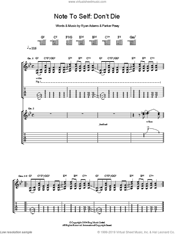 Note To Self: Don't Die sheet music for guitar (tablature) by Ryan Adams. Score Image Preview.