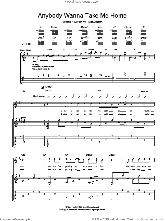 Anybody Wanna Take Me Home sheet music for guitar (tablature) by Ryan Adams. Score Image Preview.