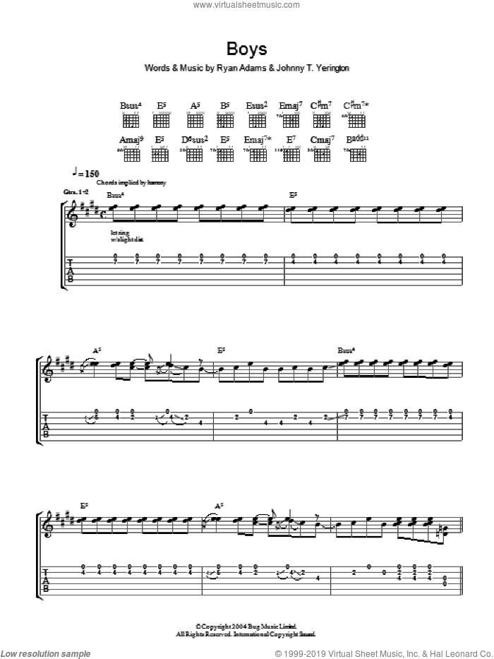 Boys sheet music for guitar (tablature) by Johnny T. Yerington and Ryan Adams. Score Image Preview.