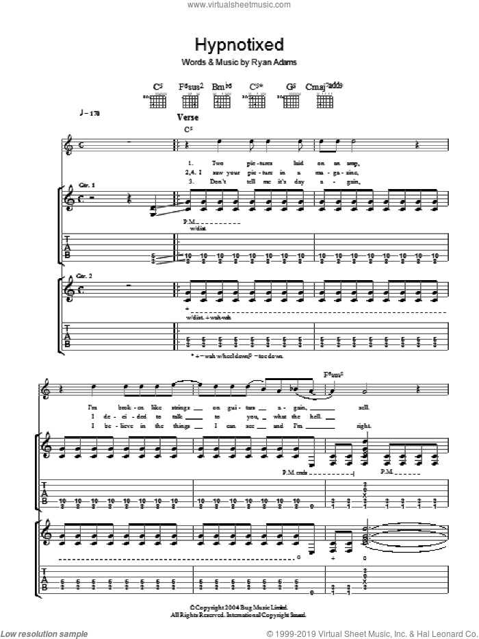 Hypnotixed sheet music for guitar (tablature) by Ryan Adams. Score Image Preview.