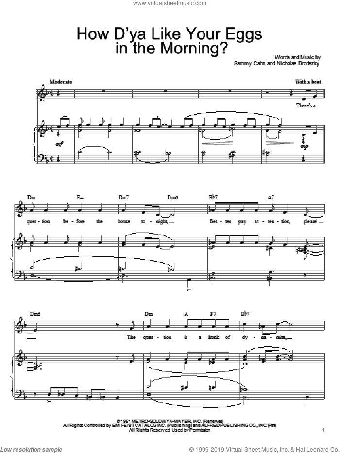 How D'Ya Like Your Eggs In The Morning? sheet music for voice, piano or guitar by Sammy Cahn and Nicholas Brodszky, intermediate skill level