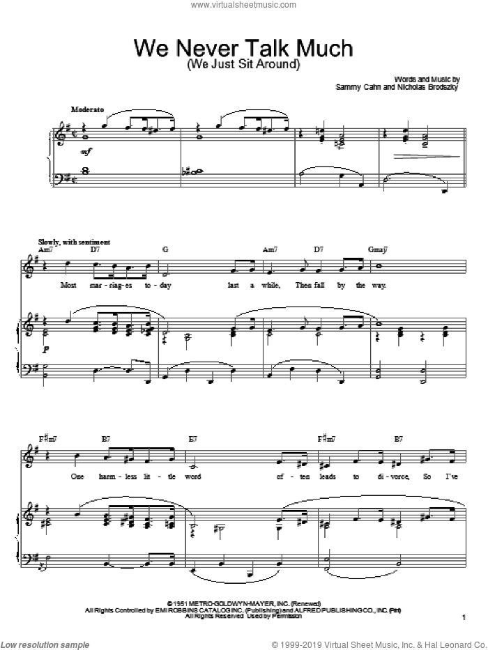 We Never Talk Much (We Just Sit Around) sheet music for voice, piano or guitar by Sammy Cahn and Nicholas Brodszky, intermediate skill level