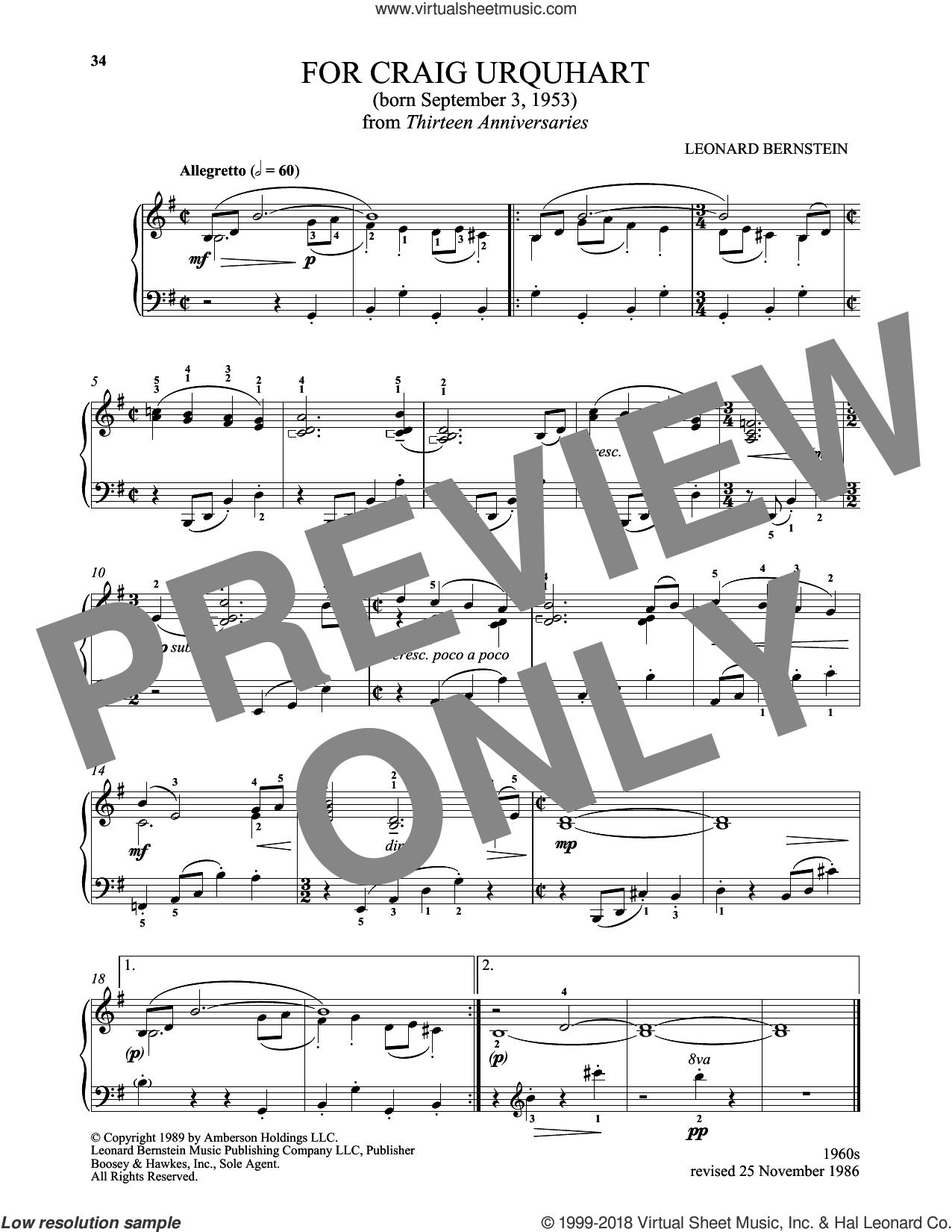 For Craig Urquhart sheet music for piano solo by Leonard Bernstein and Michael Mizrahi, classical score, intermediate skill level